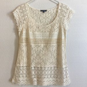 One.September | Cream Crochet Blouse | L